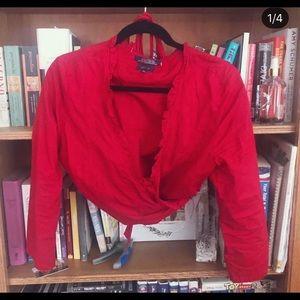 90s Ralph Lauren crop tie front blouse